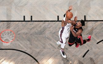 BROOKLYN, NY - DECEMBER 1: Jimmy Butler #22 of the Miami Heat shoots the ball against the Brooklyn Nets on December 1, 2019 at Barclays Center in Brooklyn, New York. NOTE TO USER: User expressly acknowledges and agrees that, by downloading and or using this Photograph, user is consenting to the terms and conditions of the Getty Images License Agreement. Mandatory Copyright Notice: Copyright 2019 NBAE (Photo by Nathaniel S. Butler/NBAE via Getty Images)