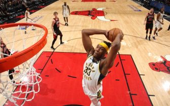 CHICAGO, IL - JANUARY 10: Myles Turner #33 of the Indiana Pacers dunks the ball against the Indiana Pacers on January 10, 2020 at the United Center in Chicago, Illinois. NOTE TO USER: User expressly acknowledges and agrees that, by downloading and or using this photograph, user is consenting to the terms and conditions of the Getty Images License Agreement.  Mandatory Copyright Notice: Copyright 2020 NBAE (Photo by Gary Dineen/NBAE via Getty Images)