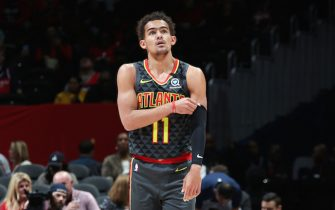 WASHINGTON, DC - JANUARY 10: Trae Young #11 of the Atlanta Hawks looks on during the game against the Washington Wizards on January 10, 2020 at Capital One Arena in Washington, DC. NOTE TO USER: User expressly acknowledges and agrees that, by downloading and or using this Photograph, user is consenting to the terms and conditions of the Getty Images License Agreement. Mandatory Copyright Notice: Copyright 2020 NBAE (Photo by Stephen Gosling/NBAE via Getty Images)