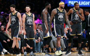 LOS ANGELES, CA - APRIL 4: Klay Thompson (11), Stephen Curry (30), Draymond Green (23), DeMarcus Cousins (0) and Kevin Durant (35) of the Golden State Warriors are seen during a game on April 4, 2019 at STAPLES Center in Los Angeles, California. NOTE TO USER: User expressly acknowledges and agrees that, by downloading and/or using this Photograph, user is consenting to the terms and conditions of the Getty Images License Agreement. Mandatory Copyright Notice: Copyright 2019 NBAE (Photo by Chris Elise/NBAE via Getty Images)