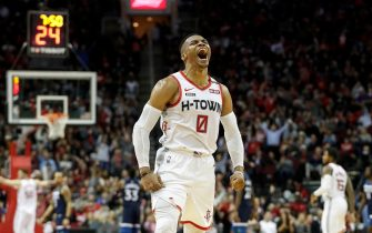 HOUSTON, TEXAS - JANUARY 11: Russell Westbrook #0 of the Houston Rockets reacts after a three point shot in the second half against the Minnesota Timberwolves at Toyota Center on January 11, 2020 in Houston, Texas.  NOTE TO USER: User expressly acknowledges and agrees that, by downloading and or using this photograph, User is consenting to the terms and conditions of the Getty Images License Agreement.   (Photo by Tim Warner/Getty Images)
