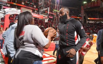 HOUSTON, TX - JANUARY 11: James Harden #13 of the Houston Rockets after scoring 20,000 career points, he was given the game ball then gave the game ball to his mother after the game against the Minnesota Timberwolves on January 11, 2020 at the Toyota Center in Houston, Texas. NOTE TO USER: User expressly acknowledges and agrees that, by downloading and or using this photograph, User is consenting to the terms and conditions of the Getty Images License Agreement. Mandatory Copyright Notice: Copyright 2020 NBAE (Photo by Bill Baptist/NBAE via Getty Images)