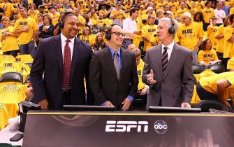 INDIANAPOLIS, IN - MAY 18: ABC Broadcast team of Mark Jackson, Mike Breen, and Jeff Van Gundy during Game One of the Eastern Conference Finals on May 18, 2014 at Bankers Life Fieldhouse in Indianapolis, IN.  NOTE TO USER: User expressly acknowledges and agrees that, by downloading and or using this photograph, User is consenting to the terms and conditions of the Getty Images License Agreement. Mandatory Copyright Notice: Copyright 2014 NBAE  (Photo by Nathaniel S. Butler/NBAE via Getty Images)