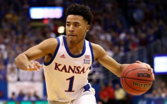 LAWRENCE, KANSAS - JANUARY 04:  Devon Dotson #1 of the Kansas Jayhawks drives upcourt during the game against the West Virginia Mountaineers at Allen Fieldhouse on January 04, 2020 in Lawrence, Kansas. (Photo by Jamie Squire/Getty Images)