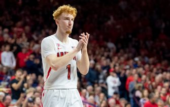 TUCSON, ARIZONA - DECEMBER 14: Nico Mannion #1 of the Arizona Wildcats reacts on the court against the Gonzaga Bulldogs at McKale Center on December 14, 2019 in Tucson, Arizona. The Gonzaga Bulldogs won 84 - 80. (Photo by Jennifer Stewart/Getty Images)