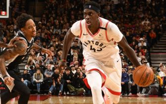 WASHINGTON, DC -  JANUARY 12: Pascal Siakam #43 of the Toronto Raptors drives to the basket against the San Antonio Spurs on January 12, 2020 at Capital One Arena in Washington, DC. NOTE TO USER: User expressly acknowledges and agrees that, by downloading and or using this Photograph, user is consenting to the terms and conditions of the Getty Images License Agreement. Mandatory Copyright Notice: Copyright 2020 NBAE (Photo by Ned Dishman/NBAE via Getty Images)