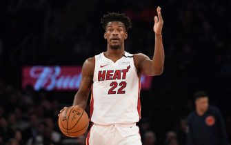 NEW YORK, NEW YORK - JANUARY 12: Jimmy Butler #22 of the Miami Heat calls a play during the first half of the game against the New York Knicks at Madison Square Garden on January 12, 2020 in New York City. NOTE TO USER: User expressly acknowledges and agrees that, by downloading and or using this photograph, User is consenting to the terms and conditions of the Getty Images License Agreement. (Photo by Sarah Stier/Getty Images)