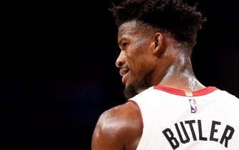 WASHINGTON, DC - DECEMBER 30: Jimmy Butler #22 of the Miami Heat looks on against the Washington Wizards during the second half at Capital One Arena on December 30, 2019 in Washington, DC. NOTE TO USER: User expressly acknowledges and agrees that, by downloading and or using this photograph, User is consenting to the terms and conditions of the Getty Images License Agreement. (Photo by Will Newton/Getty Images)