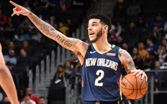 DETROIT, MI - JANUARY 13: Lonzo Ball #2 of the New Orleans Pelicans handles the ball during a game against the Detroit Pistons on January 13, 2020 at Little Caesars Arena in Detroit, Michigan. NOTE TO USER: User expressly acknowledges and agrees that, by downloading and/or using this photograph, User is consenting to the terms and conditions of the Getty Images License Agreement. Mandatory Copyright Notice: Copyright 2020 NBAE (Photo by Chris Schwegler/NBAE via Getty Images)