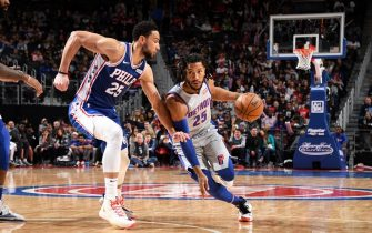 DETROIT, MI - DECEMBER 23: Derrick Rose #25 of the Detroit Pistons handles the ball during the game against the Philadelphia 76ers on December 23, 2019 at Little Caesars Arena in Detroit, Michigan. NOTE TO USER: User expressly acknowledges and agrees that, by downloading and/or using this photograph, User is consenting to the terms and conditions of the Getty Images License Agreement. Mandatory Copyright Notice: Copyright 2019 NBAE (Photo by Chris Schwegler/NBAE via Getty Images)