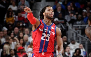DETROIT, MI - DECEMBER 26: Derrick Rose #25 of the Detroit Pistons handles the ball against the Washington Wizards on December 26, 2019 at Little Caesars Arena in Detroit, Michigan. NOTE TO USER: User expressly acknowledges and agrees that, by downloading and/or using this photograph, User is consenting to the terms and conditions of the Getty Images License Agreement. Mandatory Copyright Notice: Copyright 2019 NBAE (Photo by Brian Sevald/NBAE via Getty Images)