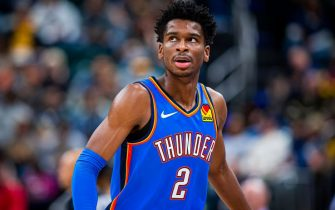 INDIANAPOLIS, IN - NOVEMBER 12: Shai Gilgeous-Alexander #2 of the Oklahoma City Thunder looks on during the game against the Indiana Pacers on November 12, 2019 at Bankers Life Fieldhouse in Indianapolis, Indiana. NOTE TO USER: User expressly acknowledges and agrees that, by downloading and or using this Photograph, user is consenting to the terms and conditions of the Getty Images License Agreement. Mandatory Copyright Notice: Copyright 2019 NBAE (Photo by Zach Beeker/NBAE via Getty Images)