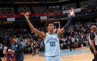 MEMPHIS, TN - JANUARY 14: Ja Morant #12 of the Memphis Grizzlies celebrates after the game against the Houston Rockets on January 14, 2020 at FedExForum in Memphis, Tennessee. NOTE TO USER: User expressly acknowledges and agrees that, by downloading and or using this photograph, User is consenting to the terms and conditions of the Getty Images License Agreement. Mandatory Copyright Notice: Copyright 2020 NBAE (Photo by Joe Murphy/NBAE via Getty Images)