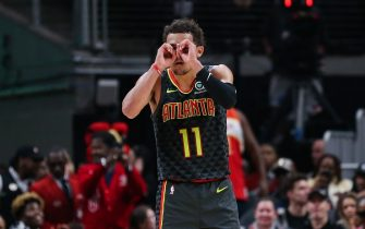 ATLANTA, GA - JANUARY 14: Trae Young #11 of the Atlanta Hawks reacts following a three-point basket during the fourth quarter of a game against the Phoenix Suns at State Farm Arena on January 14, 2020 in Atlanta, Georgia. NOTE TO USER: User expressly acknowledges and agrees that, by downloading and or using this photograph, User is consenting to the terms and conditions of the Getty Images License Agreement. (Photo by Carmen Mandato/Getty Images)