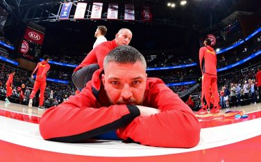 ATLANTA, GA - DECEMBER 27: Chandler Parsons #31 of the Atlanta Hawks stretches before the game against the Milwaukee Bucks on December 27, 2019 at State Farm Arena in Atlanta, Georgia. NOTE TO USER: User expressly acknowledges and agrees that, by downloading and/or using this Photograph, user is consenting to the terms and conditions of the Getty Images License Agreement. Mandatory Copyright Notice: Copyright 2019 NBAE (Photo by Scott Cunningham/NBAE via Getty Images)