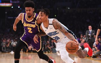 LOS ANGELES, CA - JANUARY 15: Quinn Cook #2 of the Los Angeles Lakers guards Markelle Fultz #20 of the Orlando Magic as he drives to the basket in the first half of the game at Staples Center on January 15, 2020 in Los Angeles, California. NOTE TO USER: User expressly acknowledges and agrees that, by downloading and/or using this Photograph, user is consenting to the terms and conditions of the Getty Images License Agreement.(Photo by Jayne Kamin-Oncea/Getty Images)