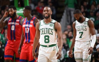 BOSTON, MA - JANUARY 15: Kemba Walker #8 of the Boston Celtics smiles during the game against the Detroit Pistons on January 15, 2020 at the TD Garden in Boston, Massachusetts.  NOTE TO USER: User expressly acknowledges and agrees that, by downloading and or using this photograph, User is consenting to the terms and conditions of the Getty Images License Agreement. Mandatory Copyright Notice: Copyright 2020 NBAE  (Photo by Brian Babineau/NBAE via Getty Images)