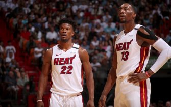 MIAMI, FL - JANUARY 15: Jimmy Butler #22, and Bam Adebayo #13 of the Miami Heat look on during the game against the San Antonio Spurs on January 15, 2020 at American Airlines Arena in Miami, Florida. NOTE TO USER: User expressly acknowledges and agrees that, by downloading and or using this Photograph, user is consenting to the terms and conditions of the Getty Images License Agreement. Mandatory Copyright Notice: Copyright 2020 NBAE (Photo by Issac Baldizon/NBAE via Getty Images)