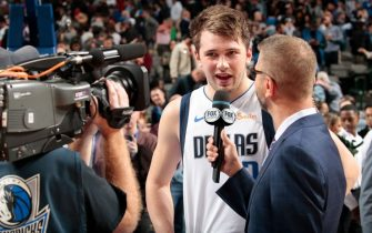 DALLAS, TX - DECEMBER 8: Luka Doncic #77 of the Dallas Mavericks is interviewed after a game against the Houston Rockets on December 8, 2018 at the American Airlines Center in Dallas, Texas. NOTE TO USER: User expressly acknowledges and agrees that, by downloading and or using this photograph, User is consenting to the terms and conditions of the Getty Images License Agreement. Mandatory Copyright Notice: Copyright 2018 NBAE (Photo by Glenn James/NBAE via Getty Images)