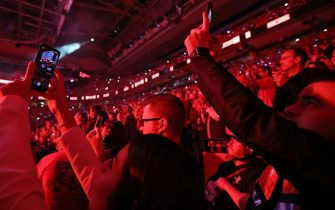 TORONTO, ON - JUNE 2: Fans photograph pre-game action before Game Two of the 2019 NBA Finals on June 2, 2019 at Scotiabank Arena in Toronto, Ontario, Canada. NOTE TO USER: User expressly acknowledges and agrees that, by downloading and or using this photograph, User is consenting to the terms and conditions of the Getty Images License Agreement. Mandatory Copyright Notice: Copyright 2019 NBAE (Photo by Carlos Osorio/NBAE via Getty Images)