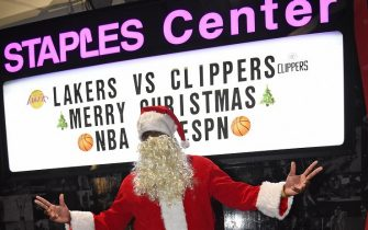 LOS ANGELES, CA - DECEMBER 25: NBA Legend, Kendrick Perkins arrives to the arena dressed as Santa Claus before the Los Angeles Lakers game against the LA Clippers on December 25, 2019 at STAPLES Center in Los Angeles, California. NOTE TO USER: User expressly acknowledges and agrees that, by downloading and/or using this Photograph, user is consenting to the terms and conditions of the Getty Images License Agreement. Mandatory Copyright Notice: Copyright 2019 NBAE (Photo by Andrew D. Bernstein/NBAE via Getty Images)