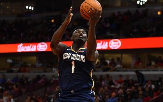 CHICAGO, ILLINOIS - OCTOBER 09:  Zion Williamson #1 of the New Orleans Pelicans takes a shot during a preseason game against the Chicago Bulls at the United Center on October 09, 2019 in Chicago, Illinois. NOTE TO USER: User expressly acknowledges and agrees that, by downloading and or using this photograph, User is consenting to the terms and conditions of the Getty Images License Agreement. (Photo by Stacy Revere/Getty Images)