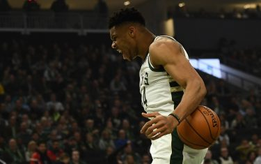 MILWAUKEE, WISCONSIN - JANUARY 14:  Giannis Antetokounmpo #34 of the Milwaukee Bucks celebrates a dunk against the New York Knicks during the first half of a game at Fiserv Forum on January 14, 2020 in Milwaukee, Wisconsin. NOTE TO USER: User expressly acknowledges and agrees that, by downloading and or using this photograph, User is consenting to the terms and conditions of the Getty Images License Agreement. (Photo by Stacy Revere/Getty Images)