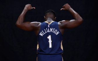 MADISON, NJ - AUGUST 11: Zion Williamson #1 of the New Orleans Pelicans poses for a portrait during the 2019 NBA Rookie Photo Shoot on August 11, 2019 at Fairleigh Dickinson University in Madison, New Jersey. NOTE TO USER: User expressly acknowledges and agrees that, by downloading and or using this photograph, User is consenting to the terms and conditions of the Getty Images License Agreement. Mandatory Copyright Notice: Copyright 2019 NBAE (Photo by Jeff Haynes/NBAE via Getty Images)