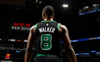 SAN ANTONIO, TX - NOVEMBER 9: A close up of the jersey of Kemba Walker #8 of the Boston Celtics during a game against the San Antonio Spurs on November 9, 2019 at the AT&T Center in San Antonio, Texas. NOTE TO USER: User expressly acknowledges and agrees that, by downloading and or using this photograph, user is consenting to the terms and conditions of the Getty Images License Agreement. Mandatory Copyright Notice: Copyright 2019 NBAE (Photos by Logan Riely/NBAE via Getty Images)