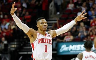 HOUSTON, TEXAS - JANUARY 15: Russell Westbrook #0 of the Houston Rockets reacts in the first half against the Portland Trail Blazers at Toyota Center on January 15, 2020 in Houston, Texas.  NOTE TO USER: User expressly acknowledges and agrees that, by downloading and or using this photograph, User is consenting to the terms and conditions of the Getty Images License Agreement. (Photo by Tim Warner/Getty Images)