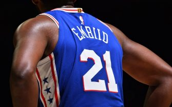 PHILADELPHIA, PA - NOVEMBER 12: A close-up view of the jersey of Joel Embiid #21 of the Philadelphia 76ersduring a game against the Cleveland Cavaliers on November 10, 2019 at the Wells Fargo Center in Philadelphia, Pennsylvania NOTE TO USER: User expressly acknowledges and agrees that, by downloading and/or using this Photograph, user is consenting to the terms and conditions of the Getty Images License Agreement. Mandatory Copyright Notice: Copyright 2019 NBAE (Photo by Jesse D. Garrabrant/NBAE via Getty Images)
