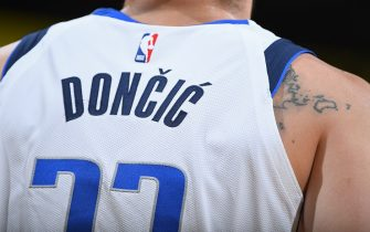 DENVER, CO - MARCH 14: A generic view of Luka Doncic #77 of the Dallas Mavericks jersey during the game against the Denver Nuggets  on March 14, 2019 at the Pepsi Center in Denver, Colorado. NOTE TO USER: User expressly acknowledges and agrees that, by downloading and/or using this photograph, user is consenting to the terms and conditions of the Getty Images License Agreement. Mandatory Copyright Notice: Copyright 2019 NBAE (Photo by Garrett Ellwood/NBAE via Getty Images)