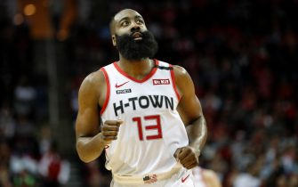 HOUSTON, TEXAS - JANUARY 11: James Harden #13 of the Houston Rockets reacts in the second half against the Minnesota Timberwolves at Toyota Center on January 11, 2020 in Houston, Texas.  NOTE TO USER: User expressly acknowledges and agrees that, by downloading and or using this photograph, User is consenting to the terms and conditions of the Getty Images License Agreement.   (Photo by Tim Warner/Getty Images)