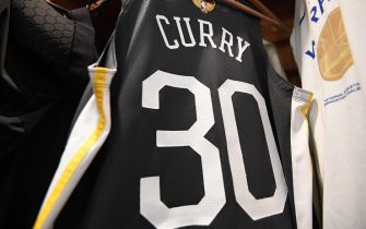 OAKLAND, CA - JUNE 13: Generic photo of Stephen Curry #30 of the Golden State Warriors jersey worn against the Toronto Raptors during Game Six of the NBA Finals on June 13, 2019 at ORACLE Arena in Oakland, California. NOTE TO USER: User expressly acknowledges and agrees that, by downloading and/or using this photograph, user is consenting to the terms and conditions of Getty Images License Agreement. Mandatory Copyright Notice: Copyright 2019 NBAE (Photo by Noah Graham/NBAE via Getty Images)