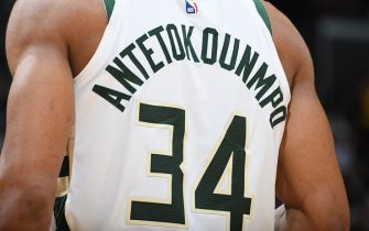 LOS ANGELES, CA - MARCH 1: The close-up view of the jersey of Giannis Antetokounmpo #34 of the Milwaukee Bucks on March 1 2019 at STAPLES Center in Los Angeles, California. NOTE TO USER: User expressly acknowledges and agrees that, by downloading and/or using this Photograph, user is consenting to the terms and conditions of the Getty Images License Agreement. Mandatory Copyright Notice: Copyright 2019 NBAE (Photo by Andrew D. Bernstein/NBAE via Getty Images)