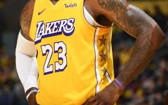 LOS ANGELES, CA - NOVEMBER 29: There jersey of LeBron James #23 of the Los Angeles Lakers during a game against the Washington Wizards on November 29, 2019 at STAPLES Center in Los Angeles, California. NOTE TO USER: User expressly acknowledges and agrees that, by downloading and/or using this Photograph, user is consenting to the terms and conditions of the Getty Images License Agreement. Mandatory Copyright Notice: Copyright 2019 NBAE (Photo by Andrew D. Bernstein/NBAE via Getty Images)