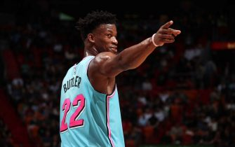 MIAMI, FL - DECEMBER 6: Jimmy Butler #22 of the Miami Heat reacts to a play during the game against the Washington Wizards on December 6, 2019 at American Airlines Arena in Miami, Florida. NOTE TO USER: User expressly acknowledges and agrees that, by downloading and or using this Photograph, user is consenting to the terms and conditions of the Getty Images License Agreement. Mandatory Copyright Notice: Copyright 2019 NBAE (Photo by Issac Baldizon/NBAE via Getty Images)