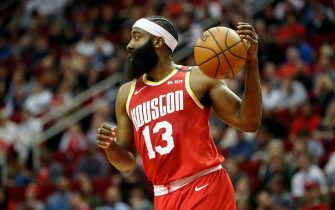 HOUSTON, TEXAS - JANUARY 03: James Harden #13 of the Houston Rockets dribbles the ball in the first half against the Philadelphia 76ers at Toyota Center on January 03, 2020 in Houston, Texas.  NOTE TO USER: User expressly acknowledges and agrees that, by downloading and or using this photograph, User is consenting to the terms and conditions of the Getty Images License Agreement.  (Photo by Tim Warner/Getty Images) (Photo by Tim Warner/Getty Images)