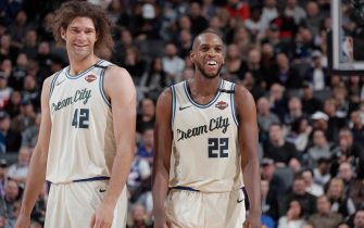 SACRAMENTO, CA - JANUARY 10: Robin Lopez #42 and Khris Middleton #22 of the Milwaukee Bucks look on during the game against the Sacramento Kings on January 10, 2020 at Golden 1 Center in Sacramento, California. NOTE TO USER: User expressly acknowledges and agrees that, by downloading and or using this photograph, User is consenting to the terms and conditions of the Getty Images Agreement. Mandatory Copyright Notice: Copyright 2020 NBAE (Photo by Rocky Widner/NBAE via Getty Images)