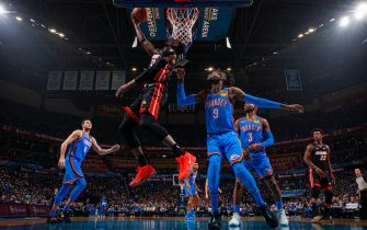 OKLAHOMA CITY, OK - JANUARY 17: Bam Adebayo #13 of the Miami Heat shoots the ball against the Oklahoma City Thunder on January 17, 2020 at Chesapeake Energy Arena in Oklahoma City, Oklahoma. NOTE TO USER: User expressly acknowledges and agrees that, by downloading and or using this photograph, User is consenting to the terms and conditions of the Getty Images License Agreement. Mandatory Copyright Notice: Copyright 2020 NBAE (Photo by Zach Beeker/NBAE via Getty Images)