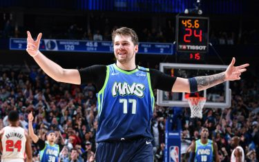 DALLAS, TX - JANUARY 17: Luka Doncic #77 of the Dallas Mavericks reacts during a game against the Portland Trail Blazers on January 17, 2020 at the American Airlines Center in Dallas, Texas. NOTE TO USER: User expressly acknowledges and agrees that, by downloading and or using this photograph, User is consenting to the terms and conditions of the Getty Images License Agreement. Mandatory Copyright Notice: Copyright 2020 NBAE (Photo by Glenn James/NBAE via Getty Images)