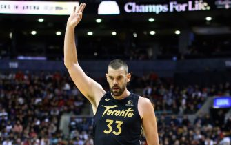 TORONTO, ON - JANUARY 17:  Marc Gasol #33 of the Toronto Raptors reacts during the second half of an NBA game against the Washington Wizards at Scotiabank Arena on January 17, 2020 in Toronto, Canada.  NOTE TO USER: User expressly acknowledges and agrees that, by downloading and or using this photograph, User is consenting to the terms and conditions of the Getty Images License Agreement.  (Photo by Vaughn Ridley/Getty Images)