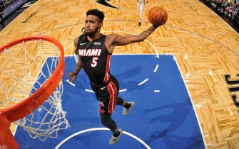 ORLANDO, FL - OCTOBER 17: Derrick Jones Jr. #5 of the Miami Heat shoots the ball against the Orlando Magic during a pre-season game on October 17, 2019 at Amway Center in Orlando, Florida. NOTE TO USER: User expressly acknowledges and agrees that, by downloading and or using this photograph, User is consenting to the terms and conditions of the Getty Images License Agreement. Mandatory Copyright Notice: Copyright 2019 NBAE (Photo by Fernando Medina/NBAE via Getty Images)