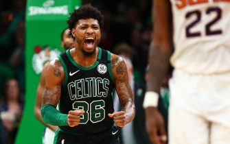 BOSTON, MA - JANUARY 18:  Marcus Smart #36 of the Boston Celtics reacts after hitting a three-point shot during a game against the Phoenix Suns at TD Garden on January 18, 2020 in Boston, Massachusetts. NOTE TO USER: User expressly acknowledges and agrees that, by downloading and or using this photograph, User is consenting to the terms and conditions of the Getty Images License Agreement. (Photo by Adam Glanzman/Getty Images)