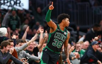 BOSTON, MA - JANUARY 18:  Marcus Smart #36 of the Boston Celtics reacts after hitting a three=point shot during a game against the Phoenix Suns at TD Garden on January 18, 2020 in Boston, Massachusetts. NOTE TO USER: User expressly acknowledges and agrees that, by downloading and or using this photograph, User is consenting to the terms and conditions of the Getty Images License Agreement. (Photo by Adam Glanzman/Getty Images)