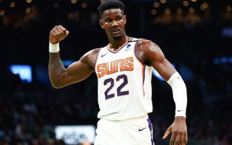 BOSTON, MA - JANUARY 18:  Deandre Ayton #22 of the Phoenix Suns reacts during a game against the Boston Celtics at TD Garden on January 18, 2020 in Boston, Massachusetts. NOTE TO USER: User expressly acknowledges and agrees that, by downloading and or using this photograph, User is consenting to the terms and conditions of the Getty Images License Agreement. (Photo by Adam Glanzman/Getty Images)