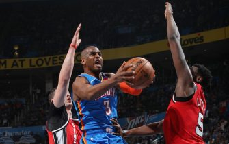 OKLAHOMA CITY, OK - JANUARY 18: Chris Paul #3 of the Oklahoma City Thunder attacks the basket during the game against the Portland Trail Blazers on January 18, 2020 at Chesapeake Energy Arena in Oklahoma City, Oklahoma. NOTE TO USER: User expressly acknowledges and agrees that, by downloading and or using this photograph, User is consenting to the terms and conditions of the Getty Images License Agreement. Mandatory Copyright Notice: Copyright 2020 NBAE (Photo by Zach Beeker/NBAE via Getty Images)