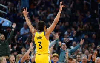 SAN FRANCISCO, CALIFORNIA - JANUARY 18: Jordan Poole #3 of the Golden State Warriors reacts to a three point basket during the second half against the Orlando Magic at the Chase Center on January 18, 2020 in San Francisco, California. NOTE TO USER: User expressly acknowledges and agrees that, by downloading and/or using this photograph, user is consenting to the terms and conditions of the Getty Images License Agreement. (Photo by Daniel Shirey/Getty Images)