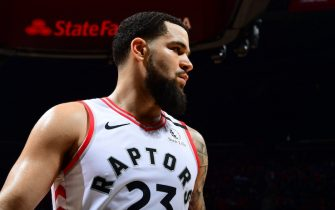 ATLANTA, GA - JANUARY 20: Fred VanVleet #23 of the Toronto Raptors looks on during the game against the Atlanta Hawks on January 20, 2020 at State Farm Arena in Atlanta, Georgia.  NOTE TO USER: User expressly acknowledges and agrees that, by downloading and/or using this Photograph, user is consenting to the terms and conditions of the Getty Images License Agreement. Mandatory Copyright Notice: Copyright 2020 NBAE (Photo by Scott Cunningham/NBAE via Getty Images)