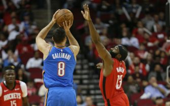 HOUSTON, TEXAS - JANUARY 20: Danilo Gallinari #8 of the Oklahoma City Thunder shoots over James Harden #13 of the Houston Rockets during the first quarter at Toyota Center on January 20, 2020 in Houston, Texas. NOTE TO USER: User expressly acknowledges and agrees that, by downloading and/or using this photograph, user is consenting to the terms and conditions of the Getty Images License Agreement.  (Photo by Bob Levey/Getty Images)